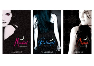 House of Night book covers for Marked, Betrayed, and Chosen