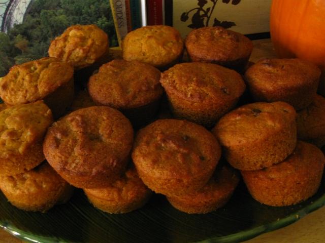 photo of chip studded pumpkin muffins